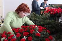 Zaměstnankyně přerovské pohřební služby začaly od úterního rána s vázáním věnců a kytic určených na pohřeb známého zpěváka Pavla Nováka.
