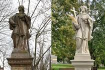 Socha sv. Jana Nepomuckého v Hranicích před a po restauraci