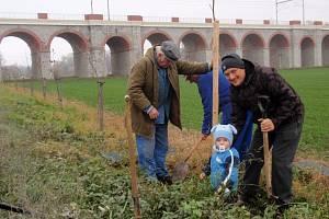 Dobrovolníci napříč všemi generacemi sázejí v Jezernici každý rok stromy. Letos jich vysadili kolem padesáti. Zapojily se i děti ze školy a školky.