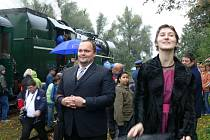 Do Tovačova přijel parní lokomotivou David Guttmann s chotí.
