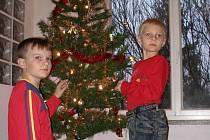 Adam s Jakubem zdobí stromeček.