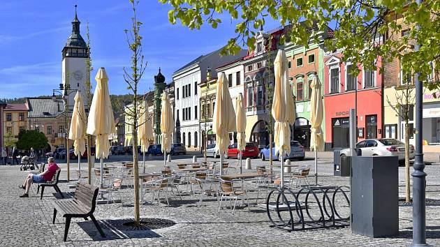 Masarykovo náměstí v Hranicích po rekonstrukci v neděli 9. května 2021.