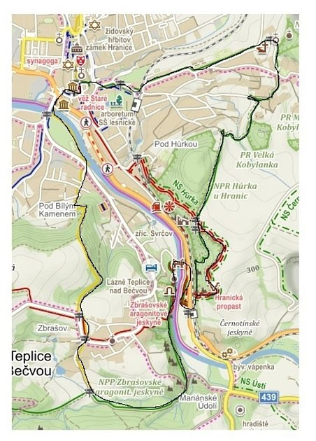 Poznejte sDomečkem krásy Hranic a okolí - první trasa: delší, asi 11km.