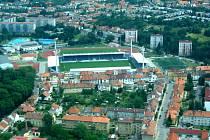 Fotbalový stadion v Uherském Hradišti.