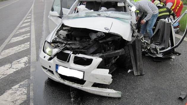 Bouračka BMW u Uherského Hradiště