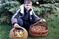 PODZIMNÍ HOUBY. Dominik Malý se pochlubil bohatým úlovkem hub.