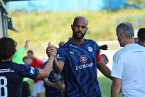 Útočník Slovácka Rigino Cicilia se v zápase proti Slovanu Bratislava trefil hned dvakrát.