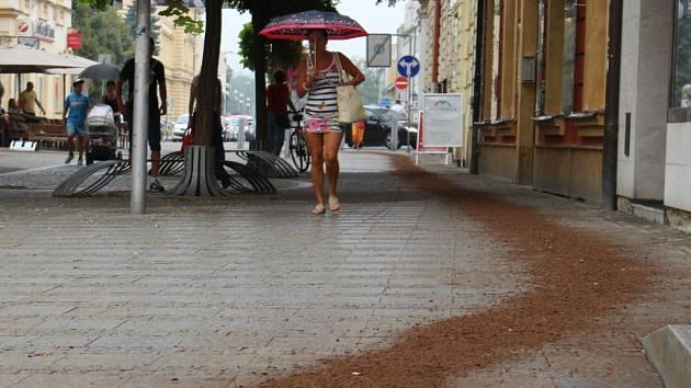 Klikatící se had z hnědého sypkého materiálu, budil v ulicích Hradiště zvědavé pohledy.