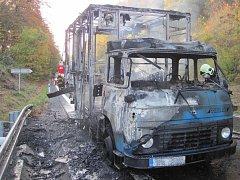 Avia hořela za jízdy, řidič se závozníkem ji včas opustili
