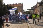 Pochod fanoušků Slovácka Uherským Hradištěm před utkáním 1. FC Slovácko - Jihlava.