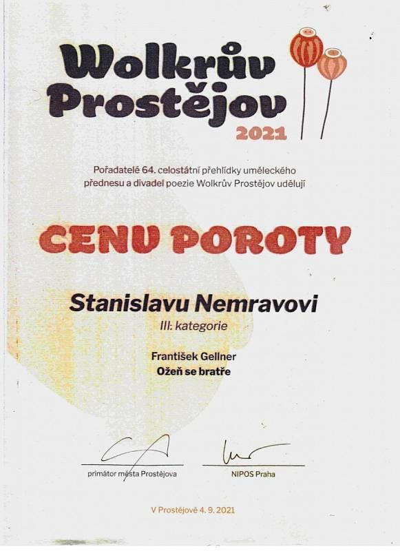 Cena poroty pro Stanislava Nemravu.