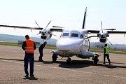 50. výročí prvního vzletu letadla L 410 na letišti v Kunovicích.Na snímku L 410 NG