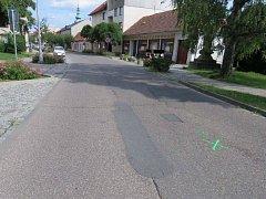 Místo srážky dvou cyklistů v Uherském Brodu