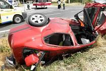 Srážka Škody Octavia s Audi Q7 mezi Uherským Ostrohem a Veselím nad Moravou