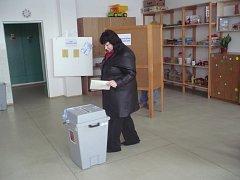 Do volebních místností v budově Základní školy Větrná v Uherském Hradišti proudily skupinky lidí už před druhou hodinou odpolední.