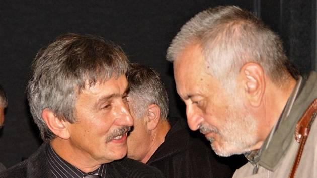 Milan Lasica při 60. výročí Slováckého divadla s Igorem Stránským.