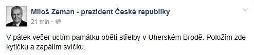Miloš zeman na FB.