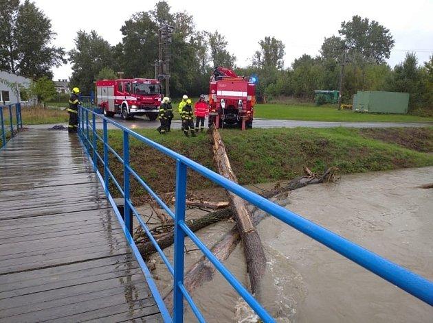 Hasiči odstraňují kusy stromů unášené vodou, které se zachytily pod mosty.PProfesionální hasiči zUherského Hradiště, kteří vmístní části Míkovice odstraňují pod mostem zaseklé kmeny stromů.