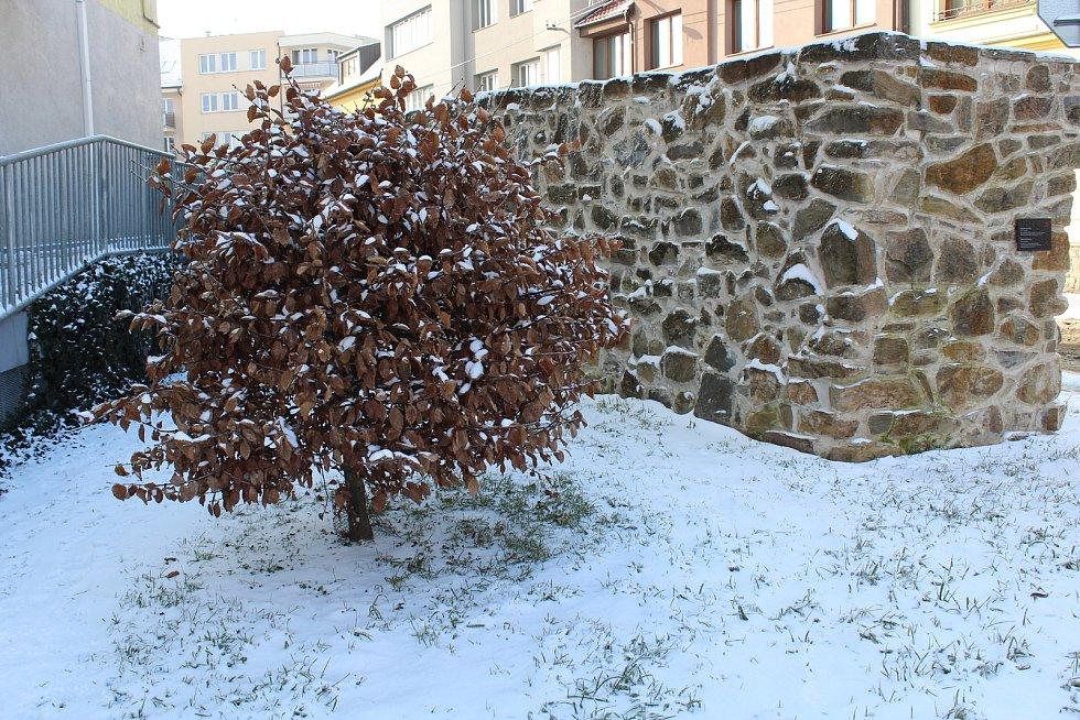 Uherské Hradiště zasněžené. Hradby pokryté ledem na ulici Dlouhá.