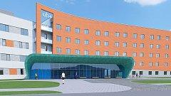 Vizualizace rozšíření centrálního vstupu do nemocnice v Uherském Hradišti