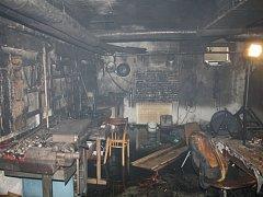 Požár v suterénu v objektu gymnázia a SOŠ na ulici Velehradská ve Starém Městě.