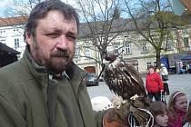 Svátek Země v Uherském Hradišti nabídl ekojarmark, ale také expozici dravých ptáků a možnost prohlédnout si oblohu hvězdářským dalekohledem