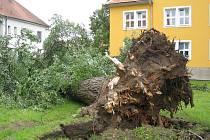 Bouře, která se v sobotu v noci prohnala Uherským Hradiště, lámala stromy i shazovala pokrývku ze střech
