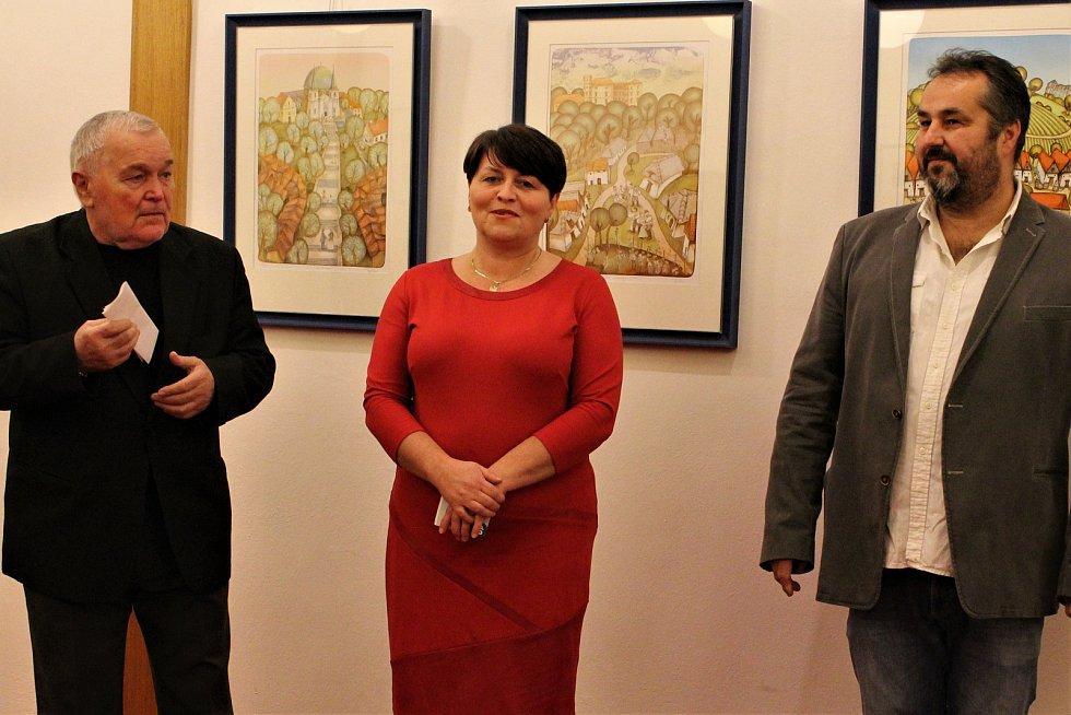 Netradičně před premiérou Její pastorkyně byla ve foyer Slováckého divadla zahájena výstava grafiky a obrazů Františka Pavlici z Hroznové Lhoty.
