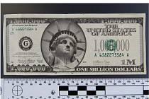 Falešná milion dolarovka měla sloužit reklamním účelům.