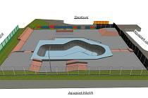 Vizualizace nového skateparku v Uherském Hradišti.