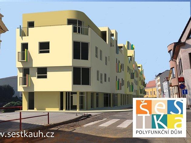 Vizualizace polyfunkčního domu Šestka v ulici Hradební v Uh. Hradišti.