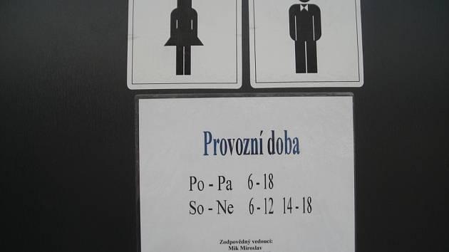 Otvírací doba na veřejných toaletách v Uherském Hradišti.