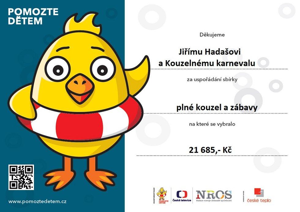 Pro sbírku Pomozte dětem vybral kouzelník Jiří Hadaš přes 87 tisíc korun.