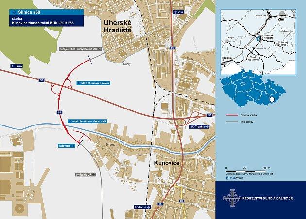 Křižovatka mezi Uherským Hradištěm a Kunovicemi (cesty l/50 a l/55)