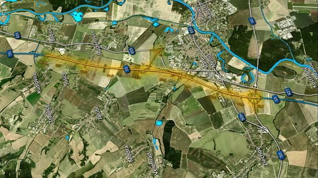 Dálnice D55 povede okolo Starého Města.