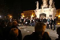 Pietní akt k výročí 17. listopadu na Mariánském náměstí v Uherském Hradisti.
