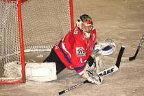 Gólman hokejistů HC Uherské Hradiště Vlastimil Oharek.