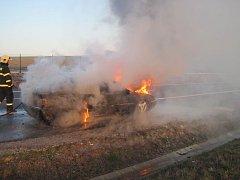 Požár osobního auta u Bánova.