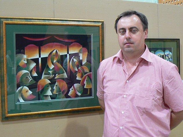 Jan Botek na zahájení své loňské výstavy na Radějově.