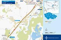 Vizualizace trasy dálnice D 55 v úseku Staré Město - Moravský Písek.