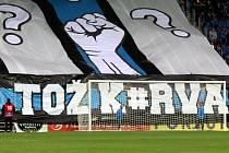 Kotel fanoušků Slovácka na prohraném zápase s Teplicemi