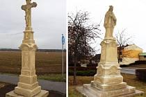Světec Jan Nepomucký v centru Huštěnovic se dočkal obnovy. Kříž na okraji obce opravil Zdeněk Habáň.