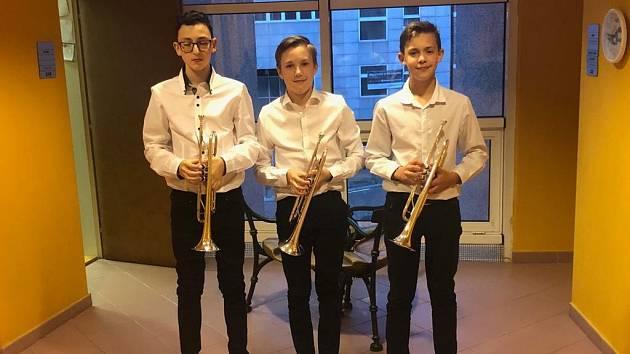 ZUŠ Uherské Hradiště - trumpetové trio Matyáše Ondrůška, Jakuba Krchňáčka a Jakuba Skopala