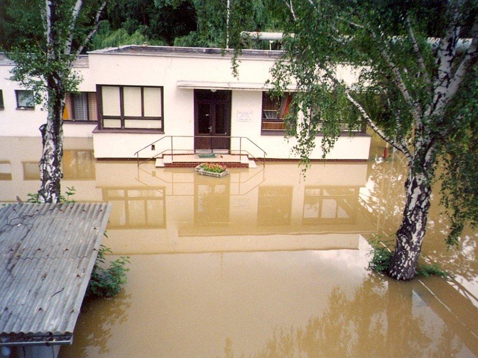 Zaplavená Uherskohradišťská nemocnice.