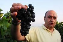 Břetislav Jakubík ve svém vinohradě.