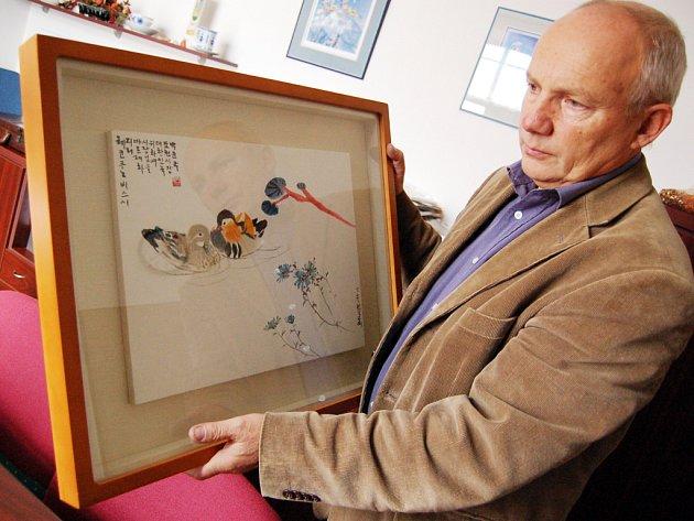 Z návštěvy Pocheonu si starosta Jiří Vařecha odvezl korejský obraz.