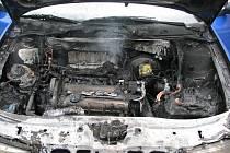 Požár motoru osobního vozu zn. Š Octavia