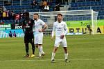 Fotbalisté Slovácka (v bílých dresech) ve 23. kole FORTUNA:LIGY porazili vedoucí Slavii Praha 1:0.