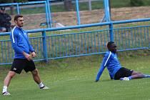 Ze zdravotních důvodů zatím postrádá trenér Slovácka Michal Kordula záložníka Marka Havlíka (na snímku vlevo) a útočníka Tomáše Zajíce.