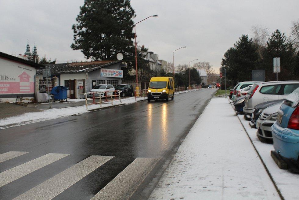 První sníh v Uherském Hradišti..